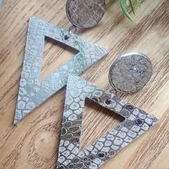 Geometric, Silver Snakeskin Print, Genuine Leather Earrings