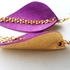 Royal Purple/ Gold Leather Petal Earrings