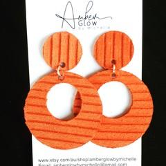 Orange, Embossed Striped Earrings