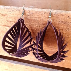 Chocolate Brown, Cut Leather Earrings