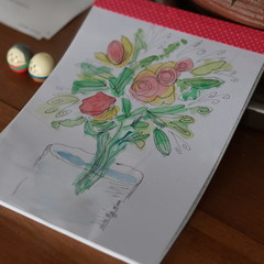 Watercolour Ruled Notepad - Flowers in a glass