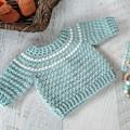 Duck Egg Blue Fair Isle Hand Crocheted Baby Jumper Sweater  3-6 months