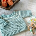 Duck Egg Blue Fair Isle Hand Crocheted Baby Jumper Sweater  3-6 months