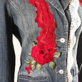 Upcycled Denim Retro inspired with Ruby red Flowers & lace
