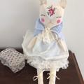 Handmade Doll, heirloom doll, cat doll, fabric doll, cloth doll