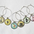 French Wine Glass Charms Set Gift France Vintage Shabby Chic Silver Barware