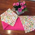 Minky & flannelette pink feathers blanket/baby rug/newborn gift/baby shower gift
