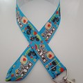 Blue ant / picnic print lanyard / ID holder / badge holder