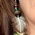 Peacock Earrings - Wooden beads - Feathers - Green - Boho