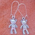 Silver teddy bear with crystals dangle earrings
