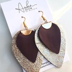 Gold/ Purple, Genuine Leather Petal Earrings