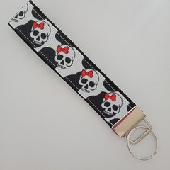 Skull with red bow key fob wristlet