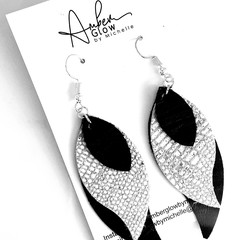 Navy/ Silver,Genuine Leather, Stacked Leaf Earrings