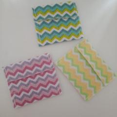 Small chevron print felt jewelry pouches / travel bags