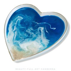 Resin Ocean Art Trinket Tray | White Ceramic Ring Dish | Heart Plate