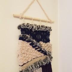 Hand woven wall hanging/weave - navy eggplant