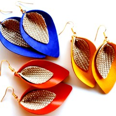 Genuine Leather Petal Earrings, Orange, Yellow or Blue with Gold Mesh Accent
