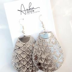 Silver Snakeskin Printed Leather Teardrop Earrings