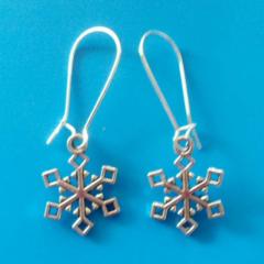 Silver snowflake charm Christmas earrings