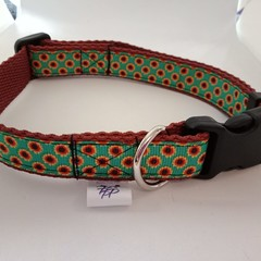 Green and brown sunflower print adjustable dog collars small / medium