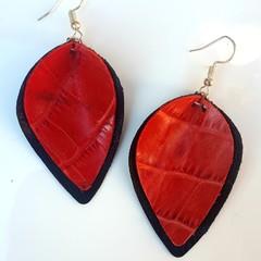 Black/ Red Crocodile Print Genuine Leather Petal Earrings