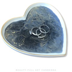 Ceramic Trinket Tray | Ring Dish | Resin Art Heart Plate