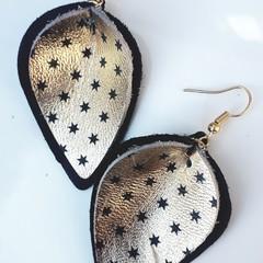 Black/ Gold Leather Petal Earrings