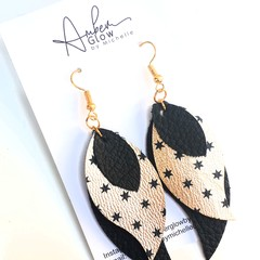 Black/ Gold Star Genuine Leather, Stacked Leaf Earrings