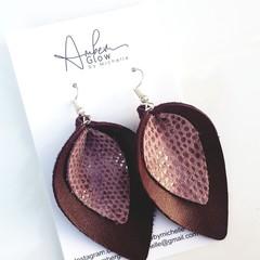 Eggplant/ Mauve Snakeskin Print Genuine Leather Petal Earrings