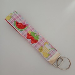 Strawberry / fruit checked key fob wristlet