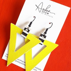 Bold Yellow, Genuine Leather Triangle Earrings