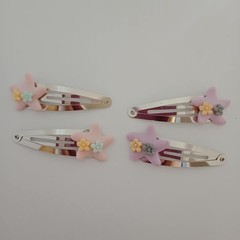 Starfish silver snap hair clips