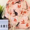 Wallaby Native Australian Animal Medium Drawstring Bag for Storage or Gift Bag