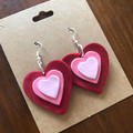 Red and pink love heart dangles - polymer clay earrings
