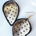 Pinched Petal, Genuine Leather Earrings, Gold/ Black Star