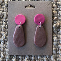 Pink and rose gold dangles - polymer clay earrings