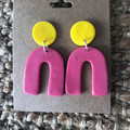 Pink and yellow dangles - polymer clay earrings