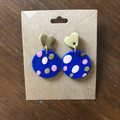 Gold, blue and pink spot dangles - polymer clay earrings