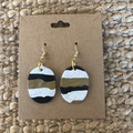 Gold, black and stone-look dangles - polymer clay earrings
