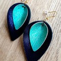 Midnight Blue/ Turquoise Genuine Leather Petal Earrings