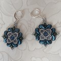 Earrings Blue & Silvver beads