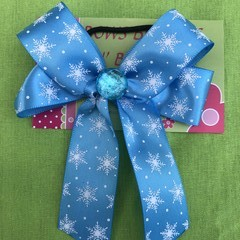 Blue snowflake double looped classic bow - with embellishment.