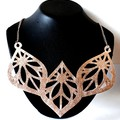 Statement Necklace, Genuine Leather, Rose Gold