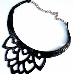 Genuine Leather Lotus Flower Necklace Black/ Silver Speckle