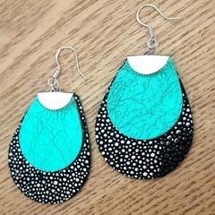 Metallic Black Speckle/ Turquoise  Leather Teardrop Earrings