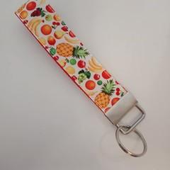 Tropical fruit print key fob wristlet