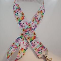Bright unicorn print lanyard / ID holder / badge holder