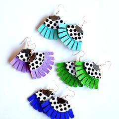 Fringed, Polkadot, Genuine Leather Earrings Green, Aqua, Violet or Blue