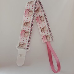 Teddy bear print baby pacifier clip / lanyard