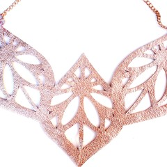 Rose Gold, Genuine Leather, Ornate Bib Necklace